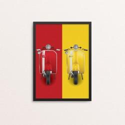 Plakat: Scooter, gul og rød