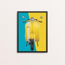 Plakat: Scooter, blå og gul