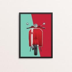 Plakat: Scooter, grøn og rød