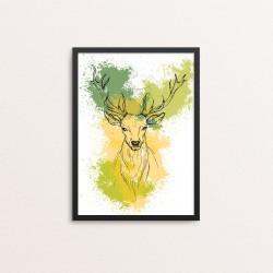 Plakat: Hjort på vandfarve