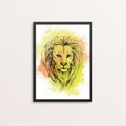 Plakat: Løve på vandfarve