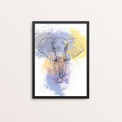 Plakat: Elefant på vandfarve