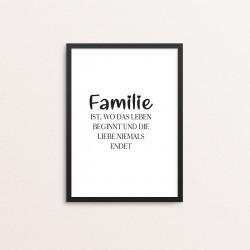 Plakat: 'Familie ist, wo...