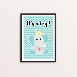 Plakat: 'It's a Boy', elefant