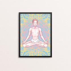 Plakat: Mediterende mand, yoga