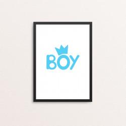Plakat: 'BOY', blå krone