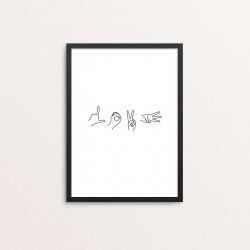 Plakat: 'LOVE', håndtegn