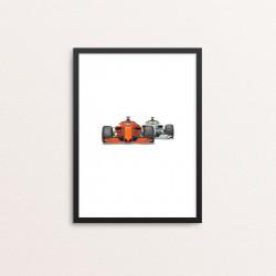 Plakat: Race Cars, rød og sølv
