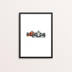 Plakat: Race Cars, sølv og rød