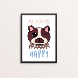 Plakat: 'ALWAYS HAPPY', Kawaii