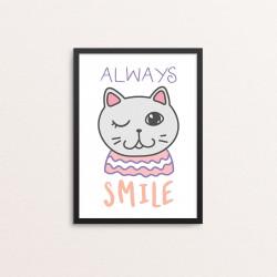Plakat: 'ALWAYS SMILE', Kawaii