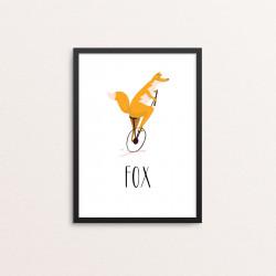 Plakat: Cyklende ræv, engelsk