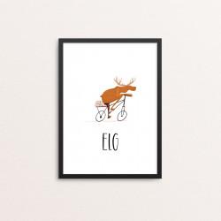 Plakat: Cyklende elg, dansk