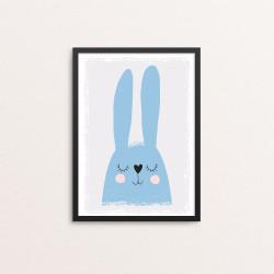 Plakat: Sovende kanin, blå