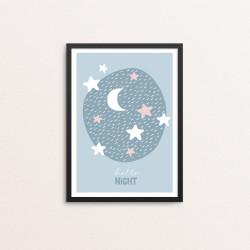 Plakat: 'hello night', blå