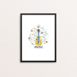 Plakat: 'music', guitar