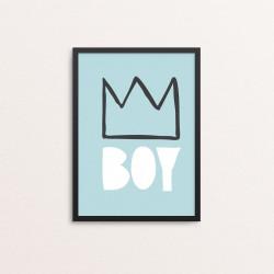 Plakat: 'BOY' krone, blå