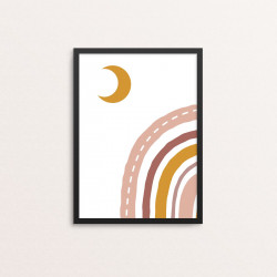 Plakat: Rainbow and moon, boho