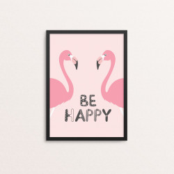 Plakat: 'BE HAPPY', pink...
