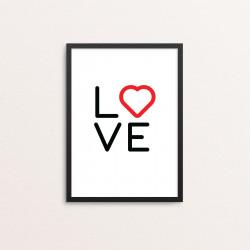 Plakat: 'LOVE', rød