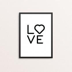 Plakat: 'LOVE', sort-hvid