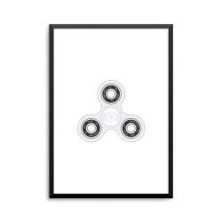 Plakat: Fidget spinner, hvid
