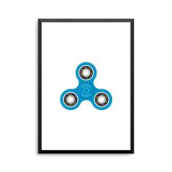 Plakat: Fidget spinner, blå