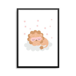 Plakat: Sovende løve på en sky