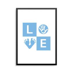 Plakat: 'LOVE' baby, blå